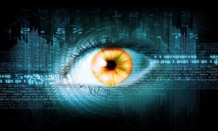 retina display: Close-up high-tech image of human eye  Technology concept