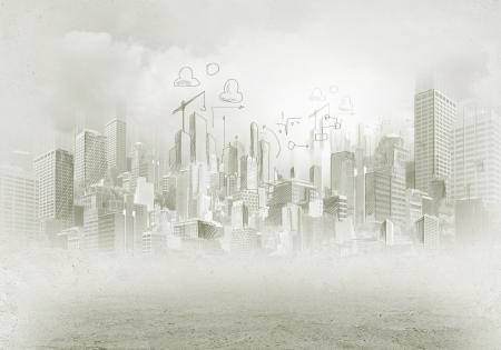 手描きの都市シーン構築概念の