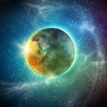 Earth planet in sun rays  photo