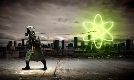 Man in respirator against nuclear background  Radioactivity concept Stock Photo - 21680711