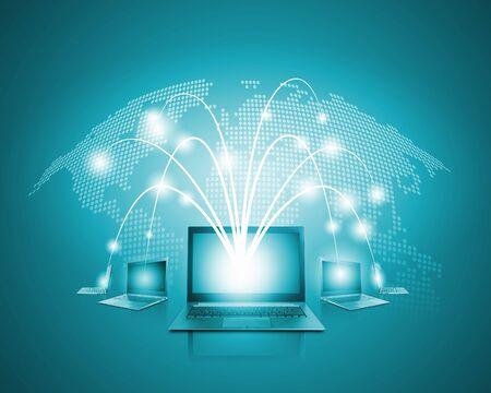 world wide web: Laptops against globe blue illustration  Globalization concepts