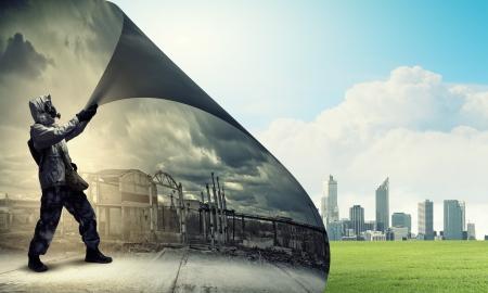 Image d'un homme en masque à gaz en tournant la page notion d'écologie