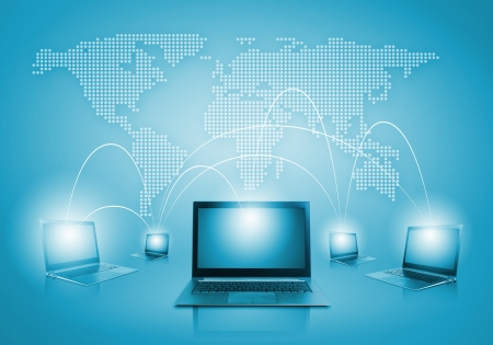 Laptops against globe blue illustration  Globalization concepts illustration