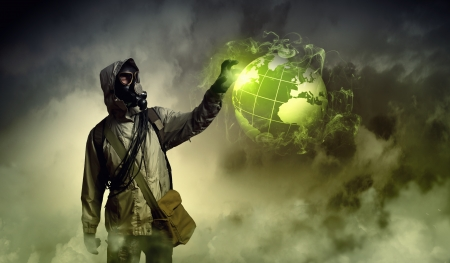 Image of man in gas mask and protective uniform touching globe illustration illustration