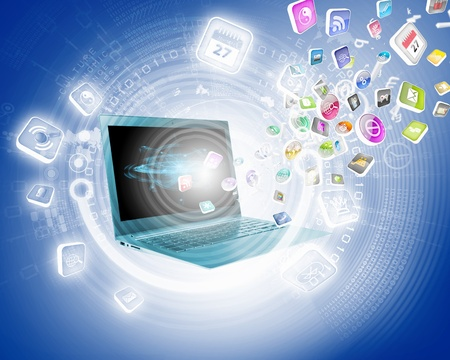 Background image with laptop and media icons Stock Photo - 21647577