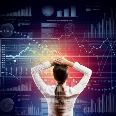 making decision: Back view of businesswoman looking at diagram illustration Stock Photo