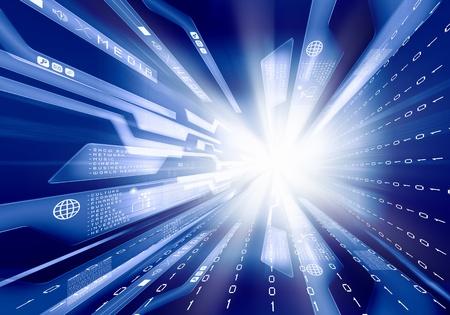 Digital blue background image with technology symbols photo