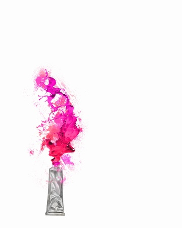 paint tube: Image of paint tube with color splashes Stock Photo