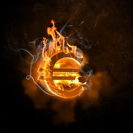 Illustration of euro burning symbol  Money concept illustration