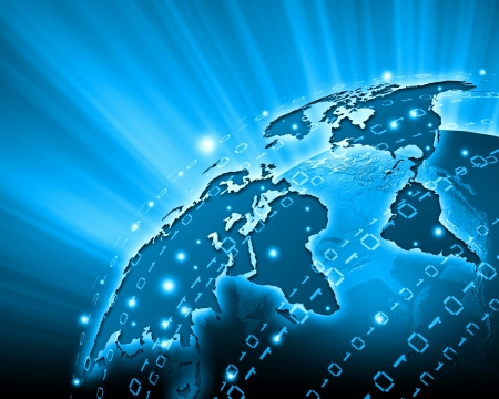 Blue vivid image of globe  Globalization concept photo