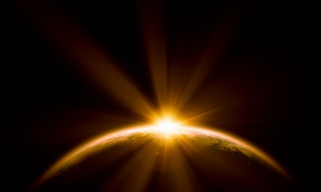 Planet Earth with appearing sunbeam light  Elements of this image are furnished by NASA photo