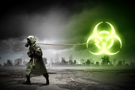 Man in respirator against nuclear background  Radioactivity concept Stock Photo - 21727361