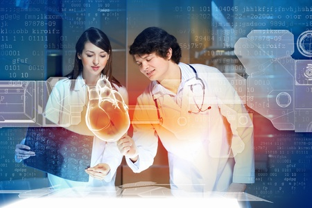 pulmology: Image of two doctors cardiologist examining virtual heart