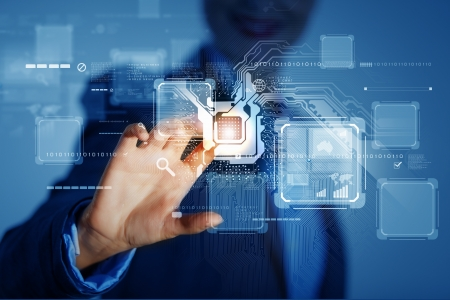 Close up of businessman hand pushing icon on media screen photo