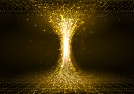 Golden digital funnel against dark background  Technology concept