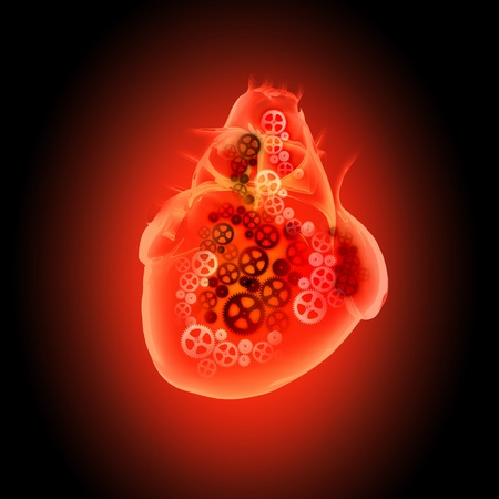 Human heart with cog and gear mechanisms against black background photo