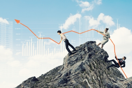 winning stock: Image of young businesspeople pulling graph  Chart growth concept