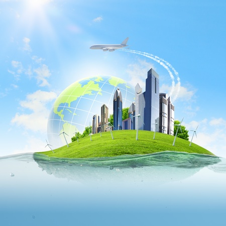 Image of earth planet floating in water  Global warming Zdjęcie Seryjne