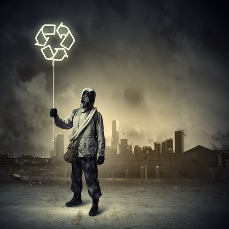 Man in respirator against nuclear background  Recycle concept Stock Photo - 21789399