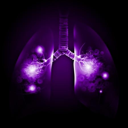 Illustrazione dei polmoni umani con meccanismi di ruota dentata Archivio Fotografico