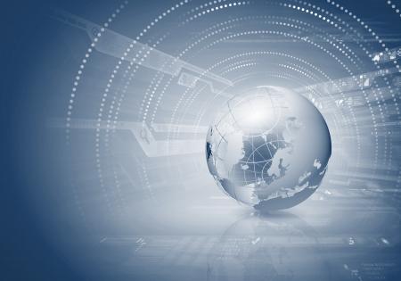 globo terraqueo: Imagen digital azul con la imagen de fondo del mundo