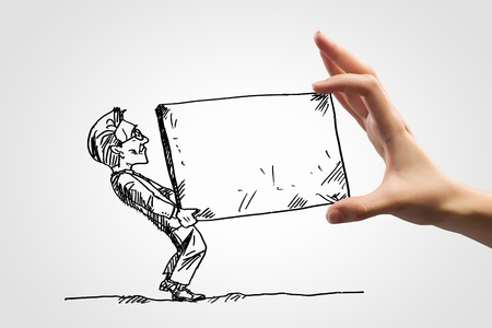 job promotion: Hand drawing image of businessman  Business challenge