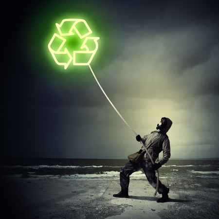 Man in respirator against nuclear background  Recycle concept Stock Photo - 21789637