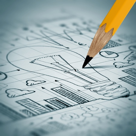 close up: Business project drawn with pencil in close up Stock Photo