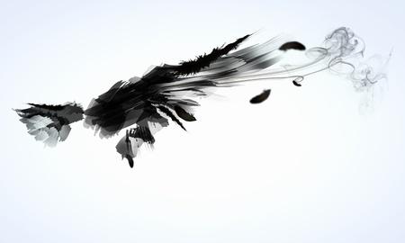Abstraktes Bild von schwarzen Flügeln vor hellem Hintergrund Standard-Bild - 21789737