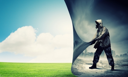 clean environment: Image of man in gas mask turning page  Ecology concept