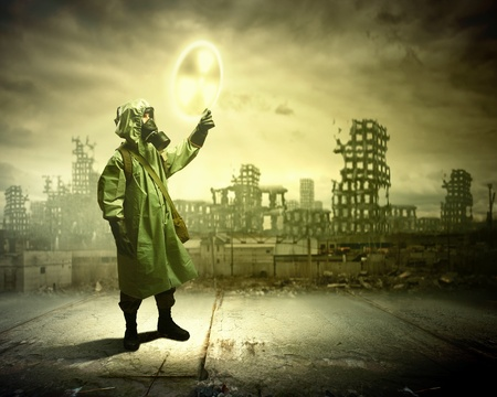 Man in respirator against nuclear background  Radioactivity concept Stock Photo - 21847273