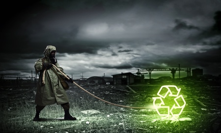 Man in respirator against nuclear background  Recycle concept Stock Photo - 21867081