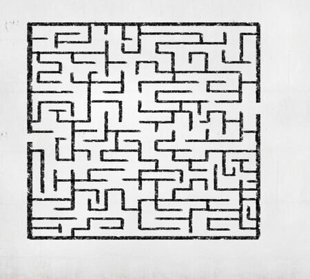 Drawn abstract maze against white background  Finding solution photo