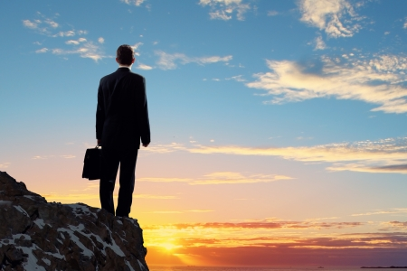 business men: Image of young businessman standing on top of hill