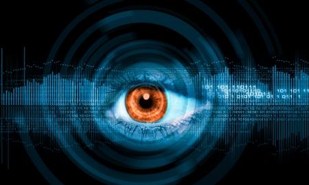 인간의 눈의 근접 첨단 이미지 기술 개념
