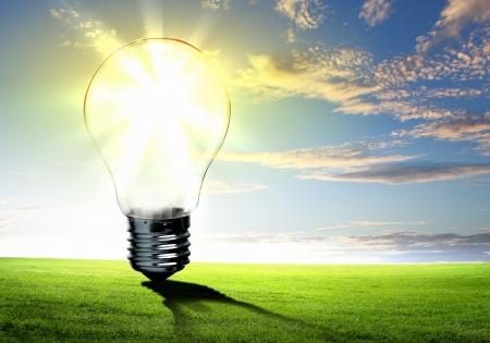 natural light: Imagen de bombilla contra la naturaleza de fondo Concepto ecol?gico