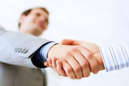 strong partnership: Close up image of business handshake at meeting  Partnership concept Stock Photo
