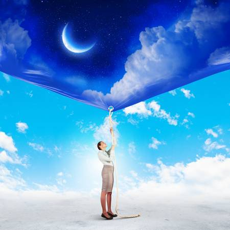 Image of businesswoman pulling banner with illustration  Day and night concept illustration