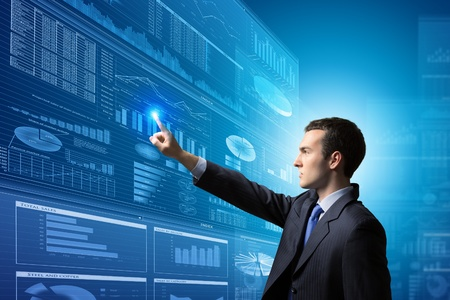 Image of businessman pushing icon of media screen  Marketing concept photo