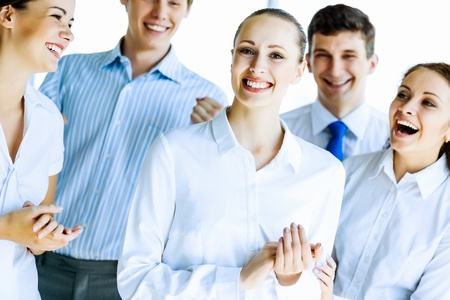 congratulating: Image of young businesspeople congratulating colleague  Success concept