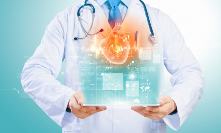 patient data: Close up of doctor s body holding tablet pc with media illustration