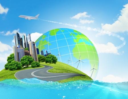 sustentabilidad: Ciudad en la isla flotando en el agua El calentamiento global Foto de archivo