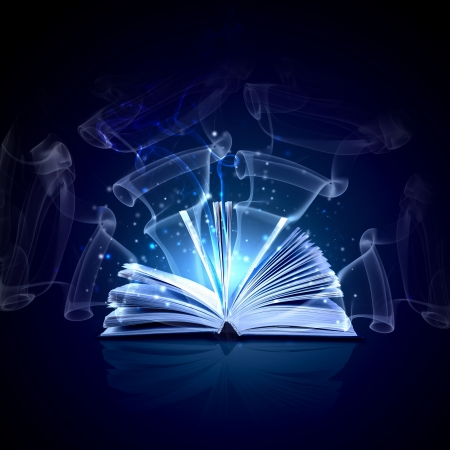 Image of opened magic book with magic lights Stock fotó