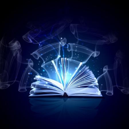 Imagen de libro mágico abierto con luces mágicas Foto de archivo - 22001037