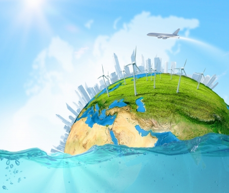 water conservation: City on island floating in water  Global warming  Elements of this image are furnished by NASA Stock Photo