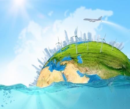 conservacion del agua: Ciudad en la isla que flota en el agua Elementos de calentamiento global de esta imagen son proporcionados por la NASA