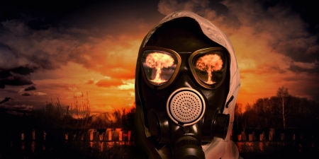 Image of man in gas mask  Ecology concept Фото со стока