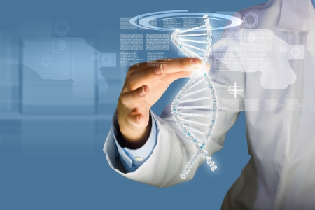 human evolution: Woman scientist touching DNA molecule image at media screen