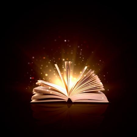 historias de la biblia: Imagen de libro mágico abierto con luces mágicas