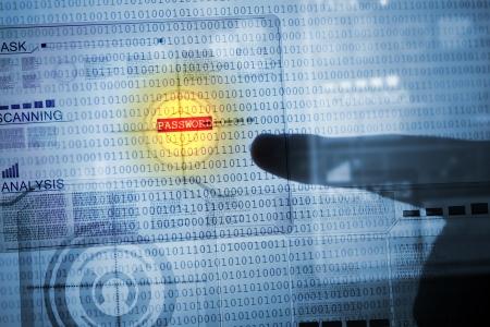 contraseña: Concepto de ordenador con código binario de seguridad y contraseña